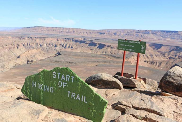 The sign at the beginning of the Fish River Canyon hike