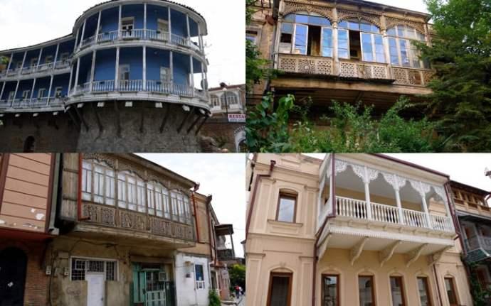 Balcony houses of Tbilisi. Georgia Backpackers Guide.