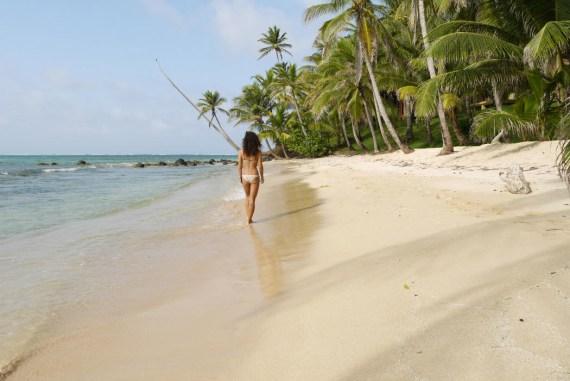 Alya walking around Little Corn Island.