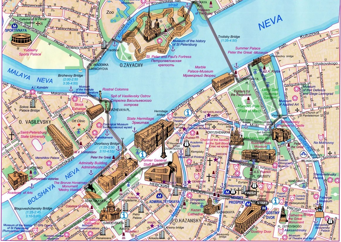 St.Petersburg city center map with walking route.