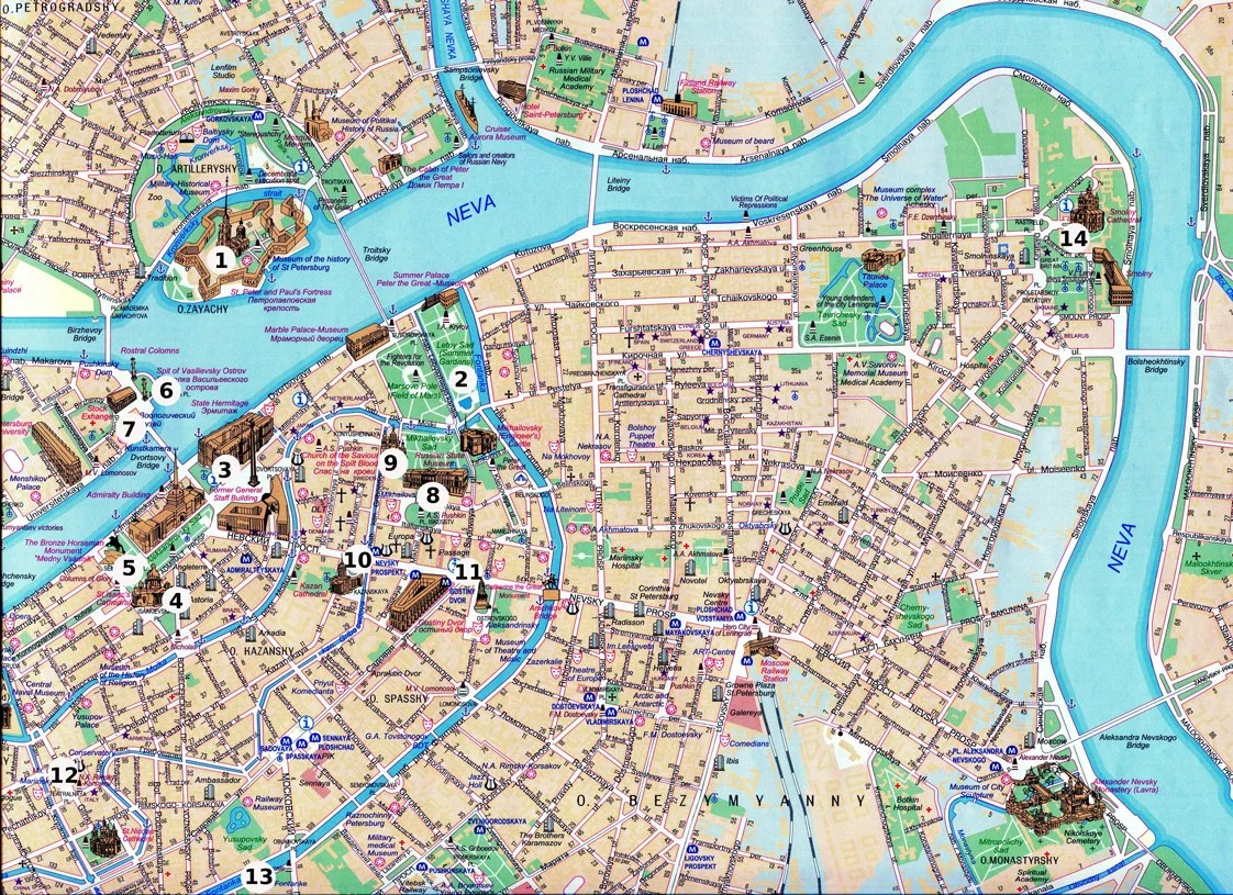 Map of Top 14 must-see places in St.Petersburg
