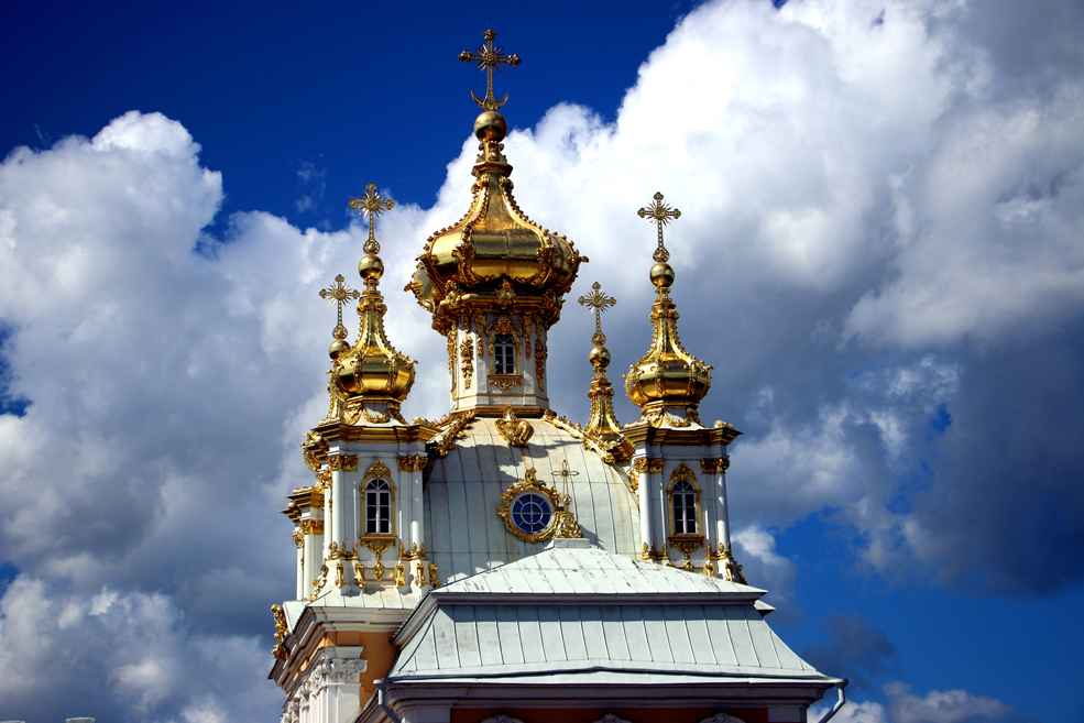 Grand palace church, Peterhof. St.Petersburg palaces and parks.