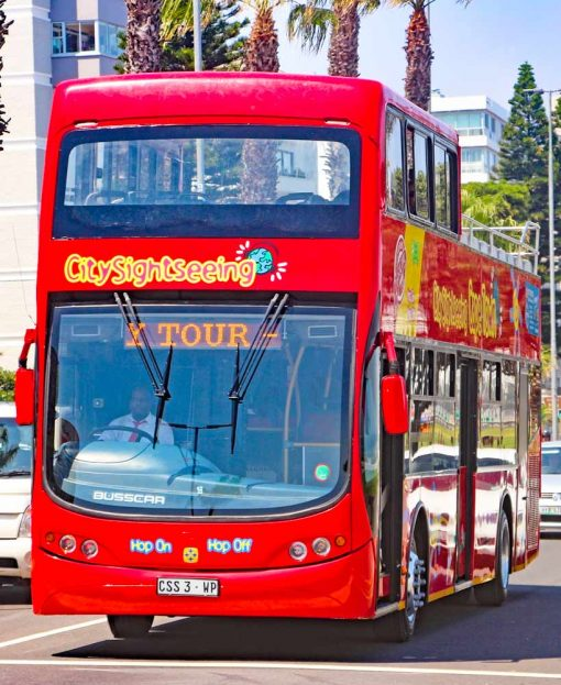 Open top red city bus in Cape Town