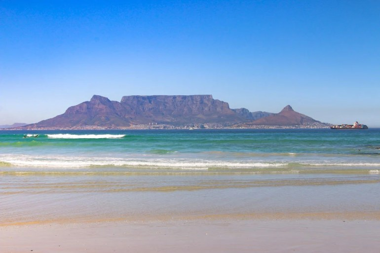 Bloubergstrand beach and the view of Table Mountain and Cape Town