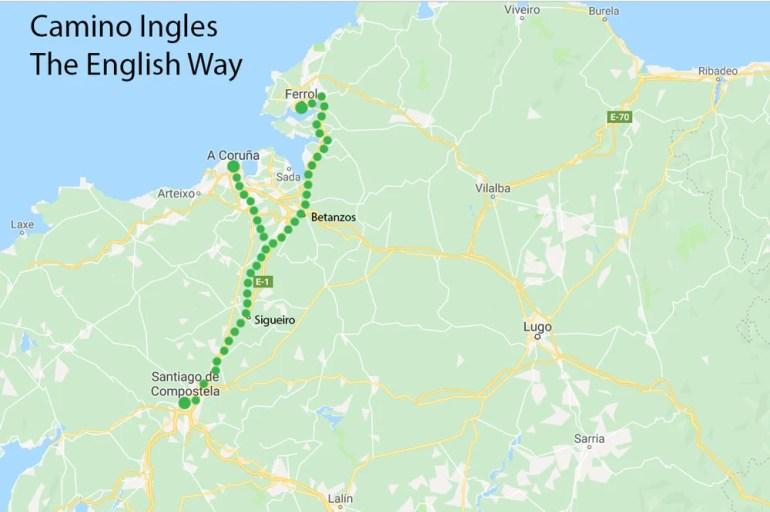 English Way of Camino de Santiago route map