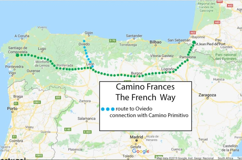 Camino Frances route map