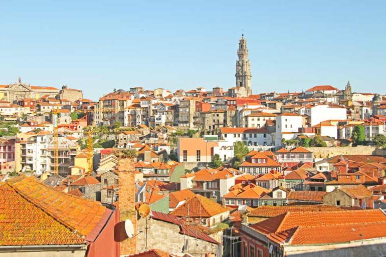 Red roofs of houses in the historical center of Porto, view from Se Cathedral.