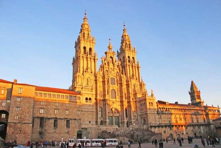 Beautiful Gothic cathedral of Santiago de Compostela in Spain