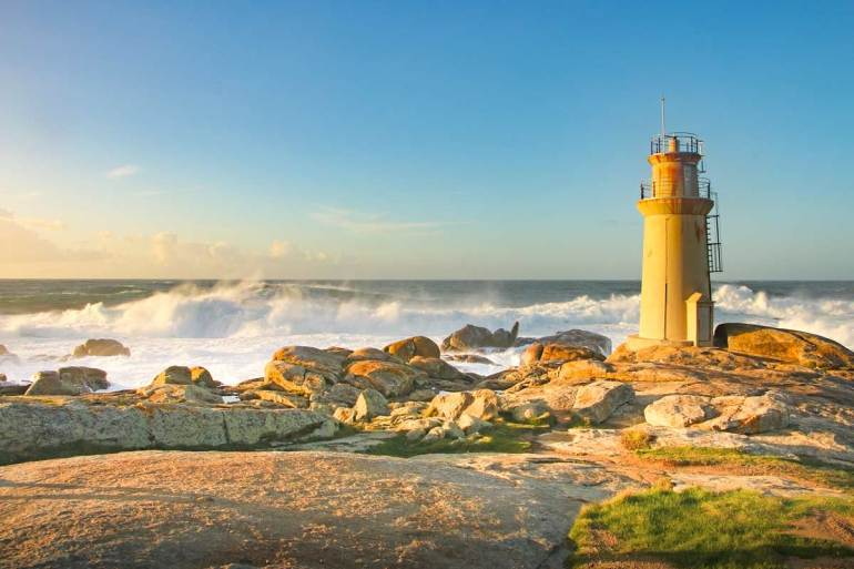 The Lighthouse at Cape Muxia at the sunset