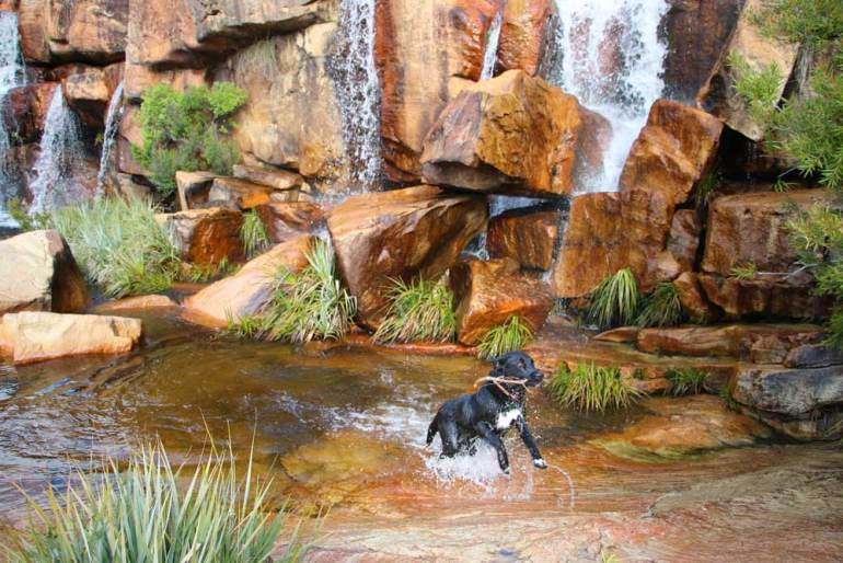 Rocky pools and small waterfalls at Beaverlac campsite near Cape Town