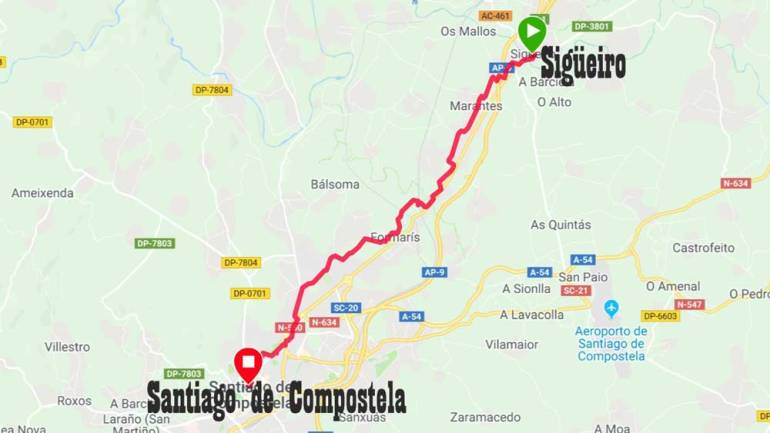 A walking route to Santiago de Compostela on the English Way of St.James