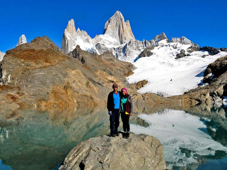 Stingy Nomads at Lago de Los Tres wtih Mt.Fitz Roy on the background