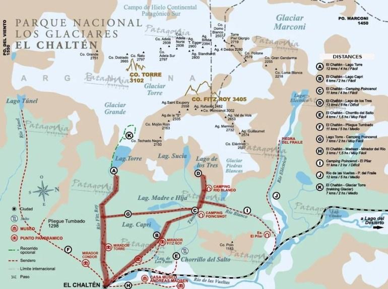 Map of Los Galaciares National park. Our route, first day; El Chalten - Laguna Capri, - camping Rio Blanco. Second day; Rio Blanco - Lago de Los tres - glacier Piedras blancas - Laguna Madre e Hija - Laguna Torres - El Chalten.