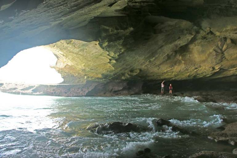 A big sea cave in Arniston, one of the highlights of the coastal drive