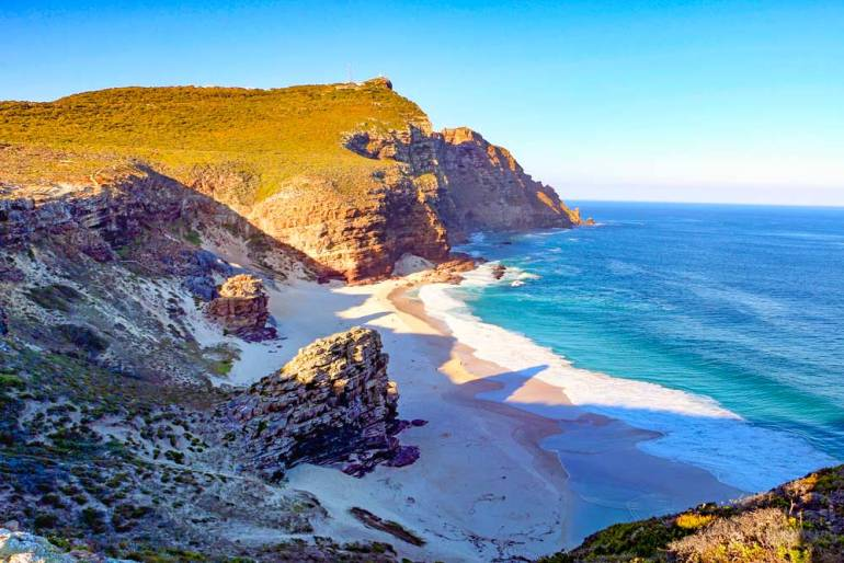 White sandy Diaz Beach at Cape Point National Park on the scenic drive around Cape peninsula