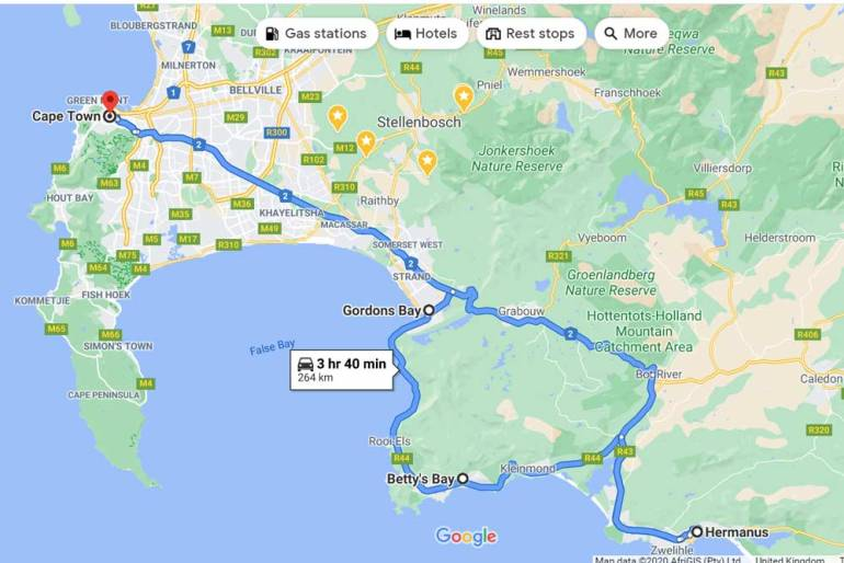 A route map of the Cape Town - Hermanus scenic drive