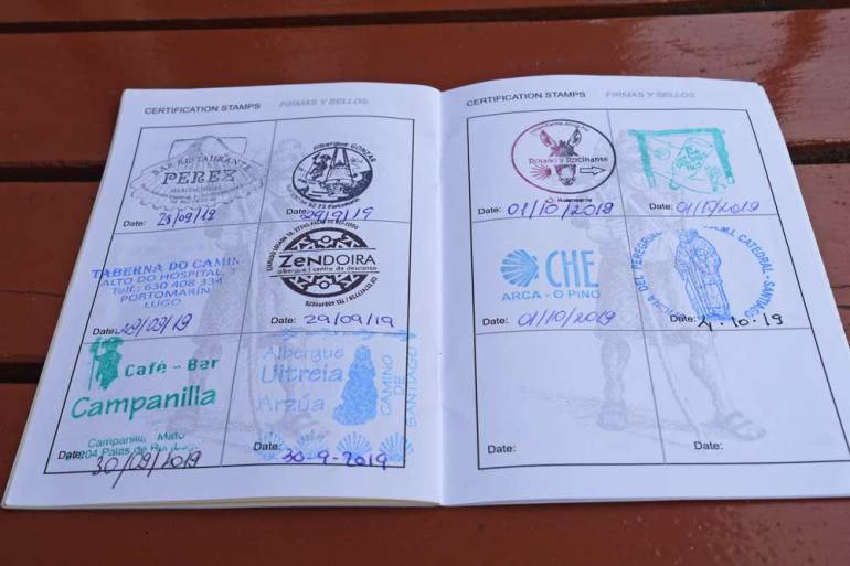 Alya's Credential from the Camino Frances with 2 stamps per day