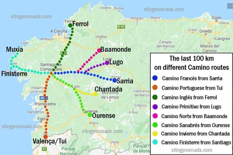 A map of seven Camino de Santiago routes to walk the last 100 km