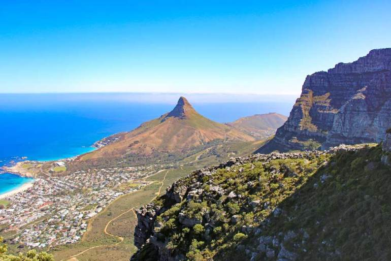 Stunning view of Cape Town and the Atlantic Ocean from a hiking trail in Cape Town