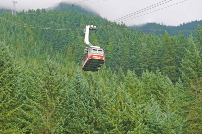 Skyride aerial tramway coming down Grouse Mountain
