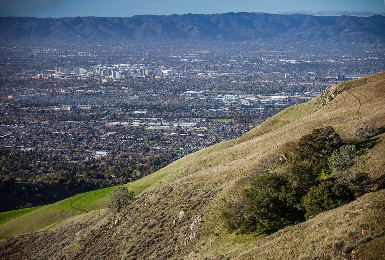 """""""Valley of Heart's Delight"""", now Silicon Valley. View of San Jose from the preserve"""