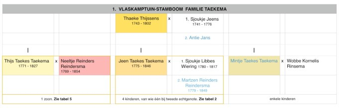 Stamboom familie Taekema