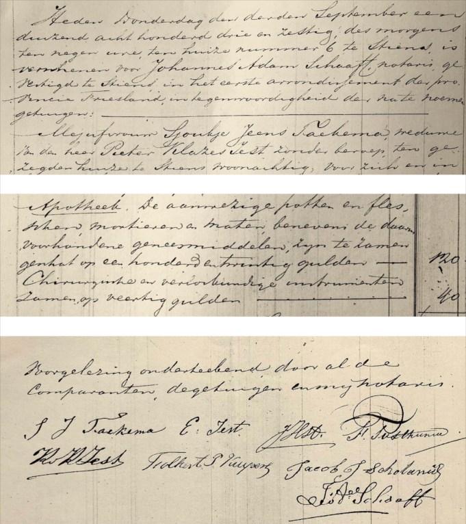 Notariële akte na overlijden P.K. Iest. 1863