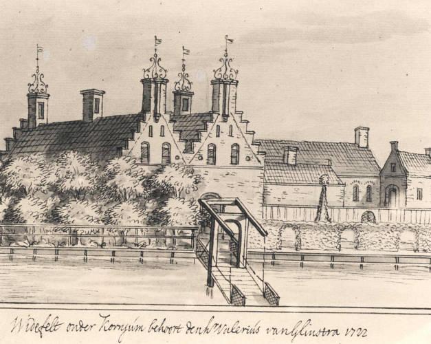 Jacob Stellingwerf, tekening van kasteel Widefelt bij Koarnjum, 1722.