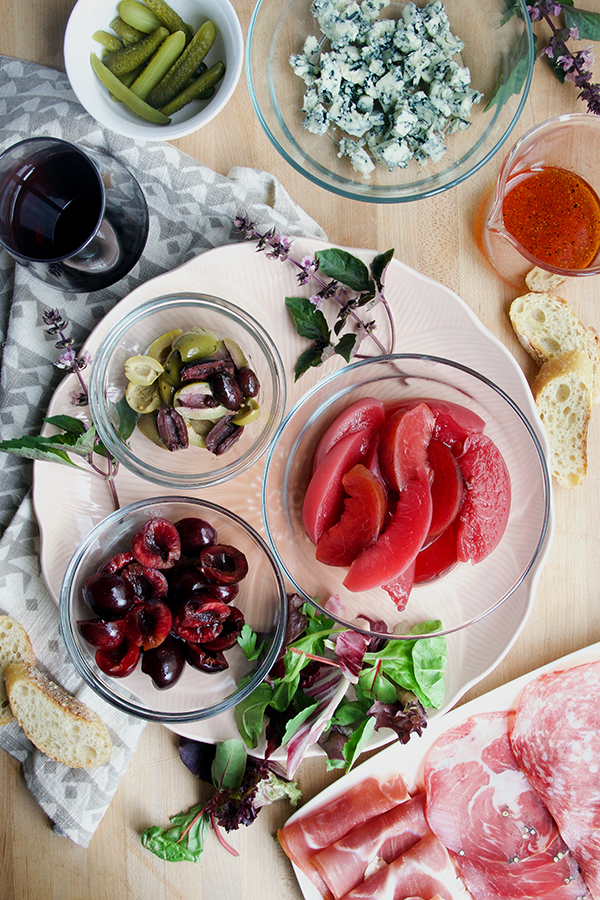 Régnié Beaujolais and Wine-Pickled Stone Fruit and Charcuterie Board Salad // stirandstrain.com