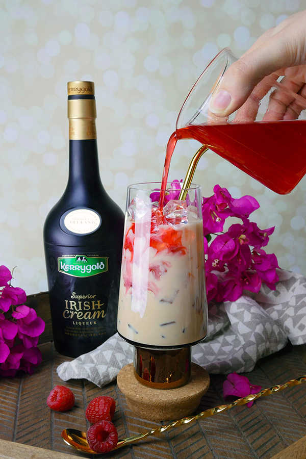 Chocolate Raspberry Bon Bon Cocktail with Kerrygold Irish Cream // stirandstrain.com