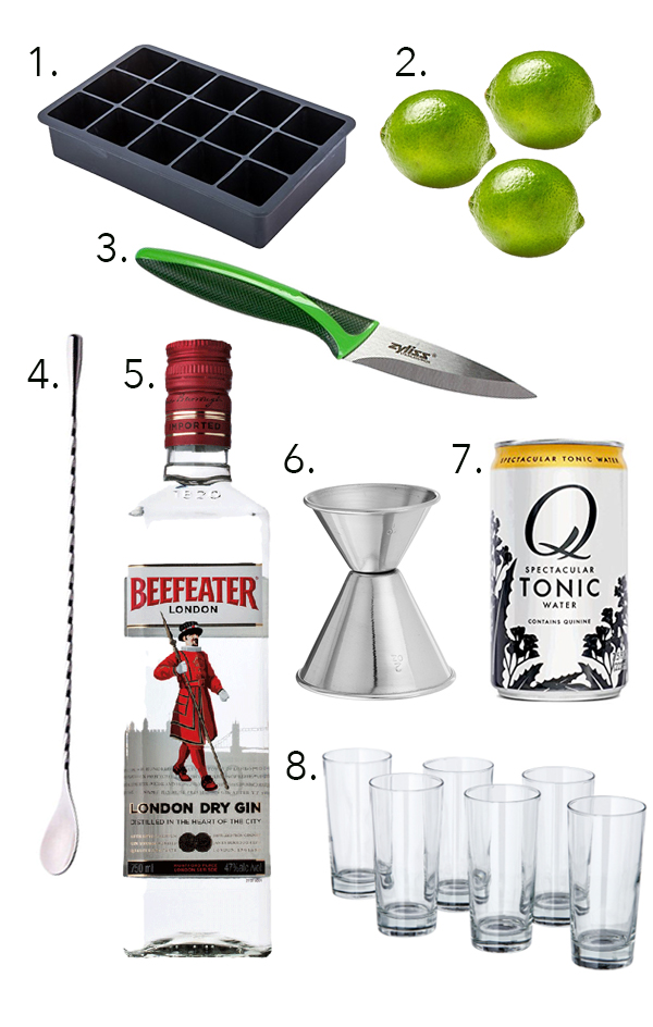 Outfitting a bar under $50: The Gin and Tonic Edition // stirandstrain.com