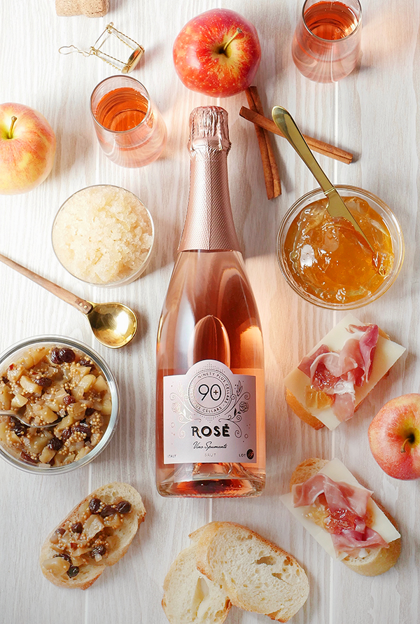 Apple Appetizers Three Ways with 90+ Cellars Lot 49 Sparkling Rosé // stirandstrain.com