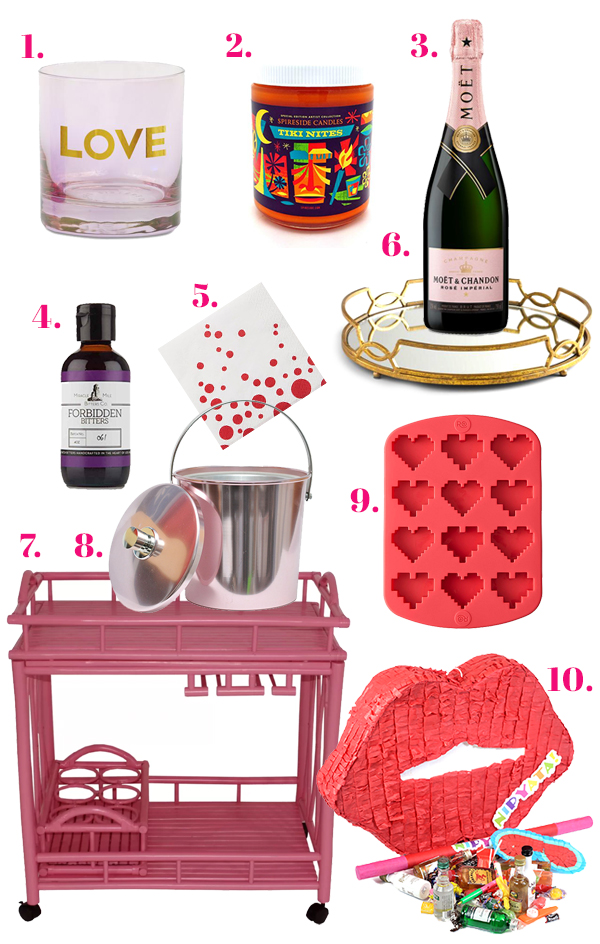 Valentine's Day Bar Cart 2019 // stirandstrain.com