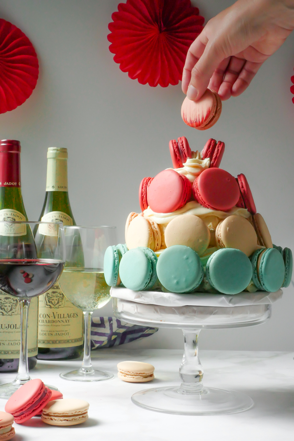 Macaron Tower with Louis Jadot Wines // stirandstrain.com