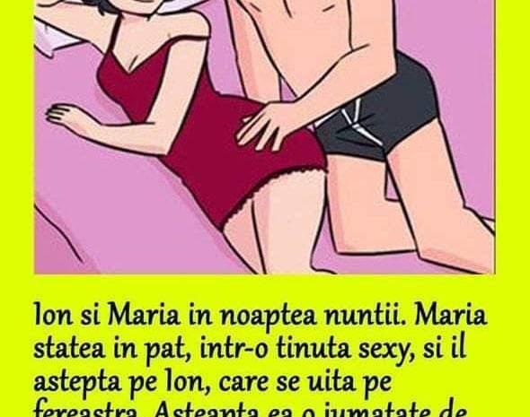 Ion şi Maria, în noaptea nunţii. Maria, culcată în pat, Ion lângă fereastră, privind pe geam. După vreo jumătate de ceas, zice Maria: