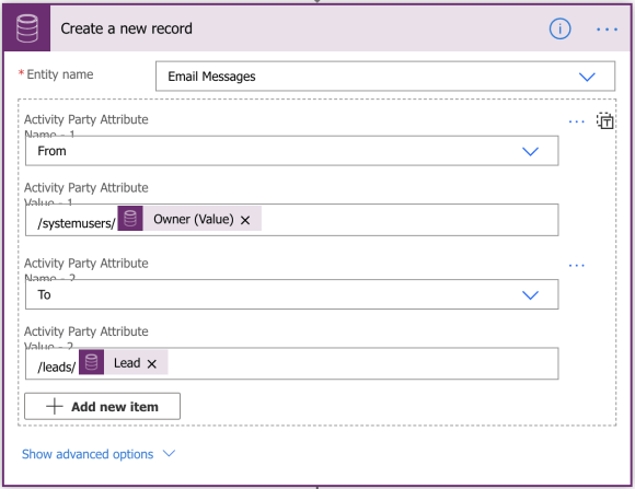 How lookup fields are referenced in the create a new record current action