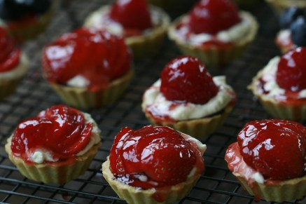 Red currant jelly glazed summer fruit tarts