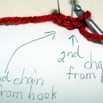 Made 3 chains, ready to insert into 2nd n 3rd chain from hook
