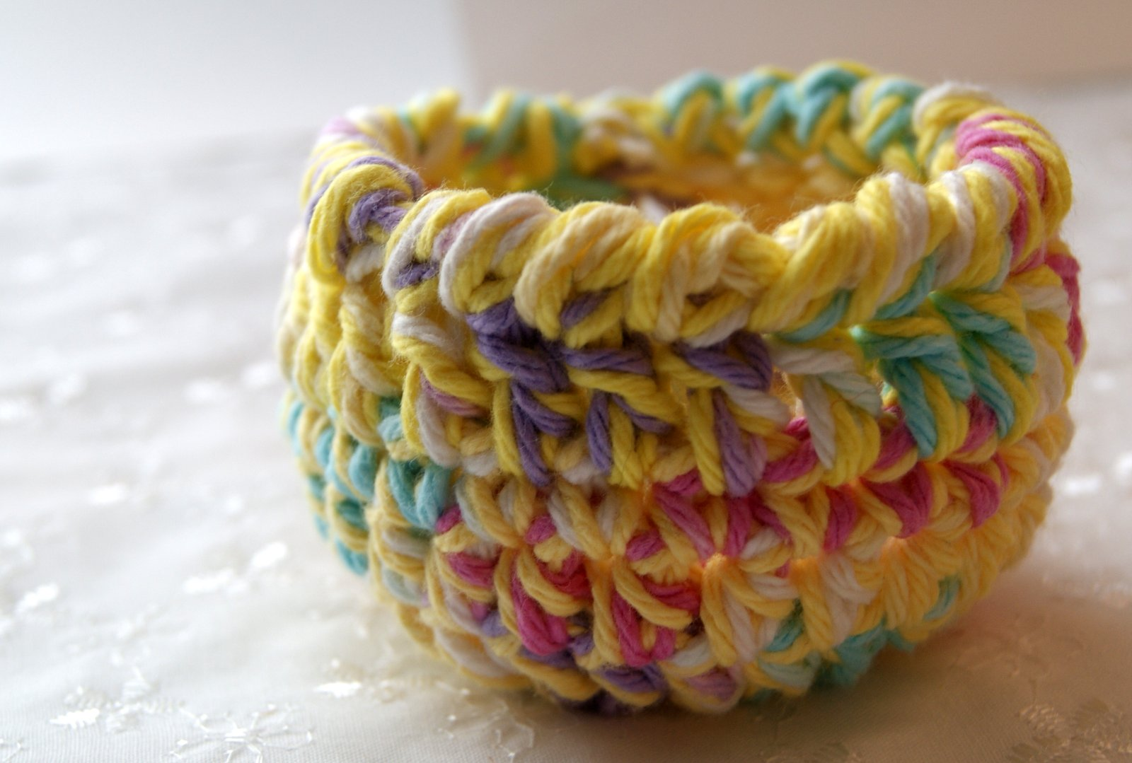 Super quick mini basket pattern stitch4ever heres what i did i used a size h hook and two strands of lily sugar n cream yarns one solid and one variegated both colors were left over little balls negle Images