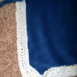How I trimmed the edge of blue fabric and the corners.