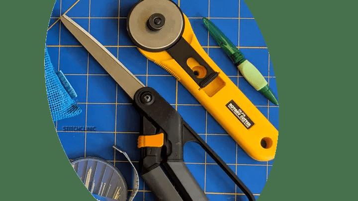 Scissors, rotary cutter, seam ripper