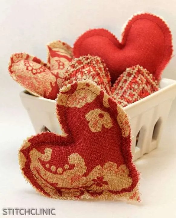 Fabric Valentine heart garland