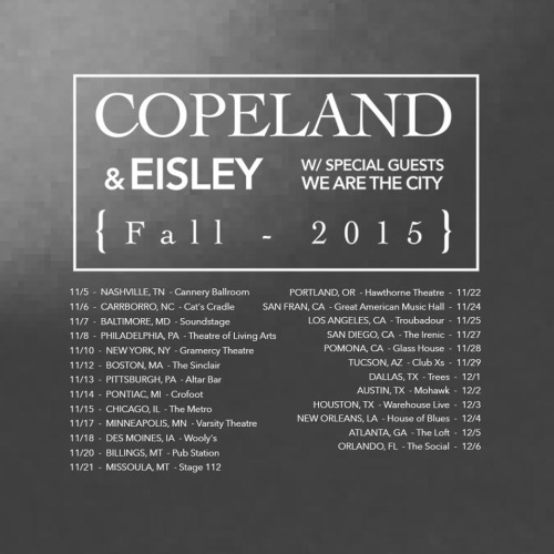 Copeland and Eisley Announce Fall Tour