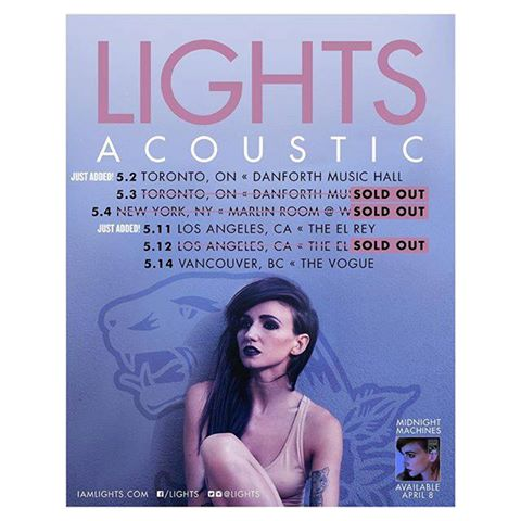 Lights Adds Two Extra Acoustic Tour Dates