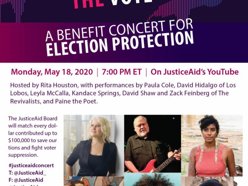 "JusticeAid to present ""Voices To Protect The Vote""- A Benefit Concert For Election Protection"