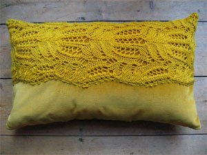 lace knitted cushion
