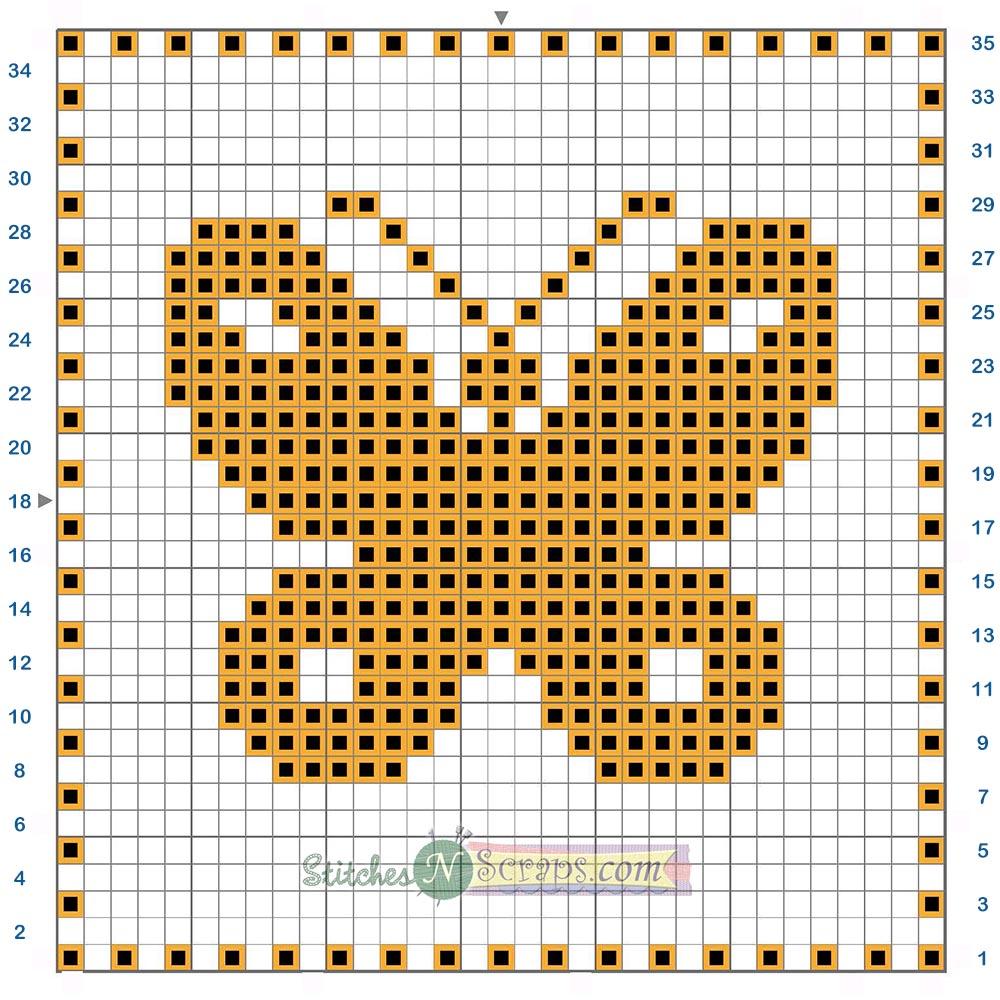 Free Pattern Filet Crochet Butterfly Motif Chart
