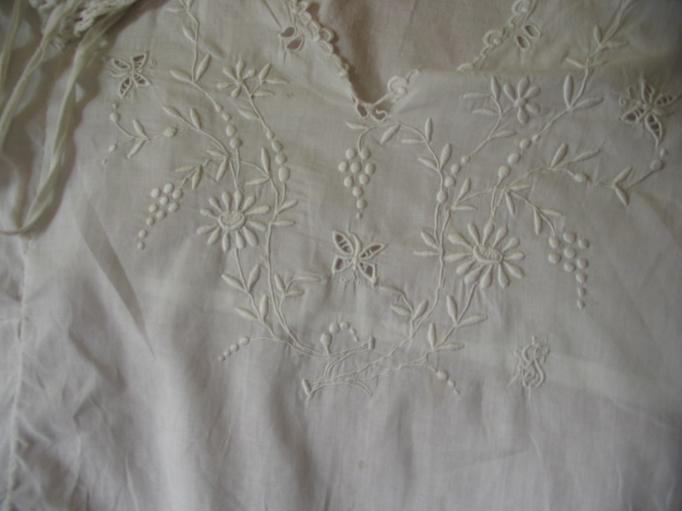Whitework detail on the nightgown