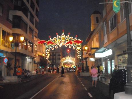 The street lights for the festival