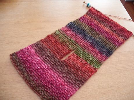 The Noro scarf with slit - the self striping wool works very well